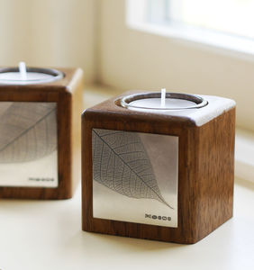 Handmade Wooden Tealight Holder Silver Leaf