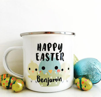 Personalised Easter Chick Enamel Mug