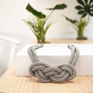 Knotted Real Silver Thread Crochet Necklace Kit
