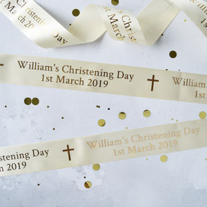 Christening 48mm Personalised Printed Ribbon