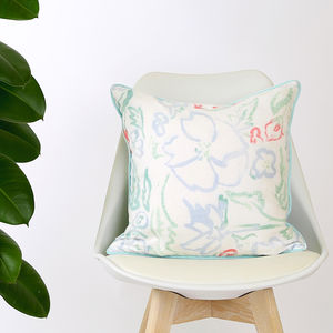 Screen Printed Wildflower Multicolour Cushion - bedroom