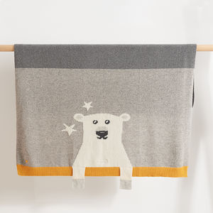 Hunter Polar Bear Knitted Baby Blanket - soft furnishings & accessories