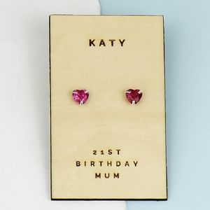 Birthstone Personalised Sterling Silver Heart Earrings