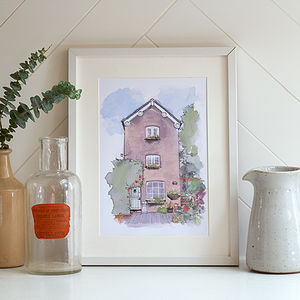 Personalised House Portrait Illustration Print - gifts for her