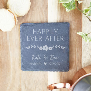 Happily Ever After Personalised Wedding Slate Coaster - kitchen