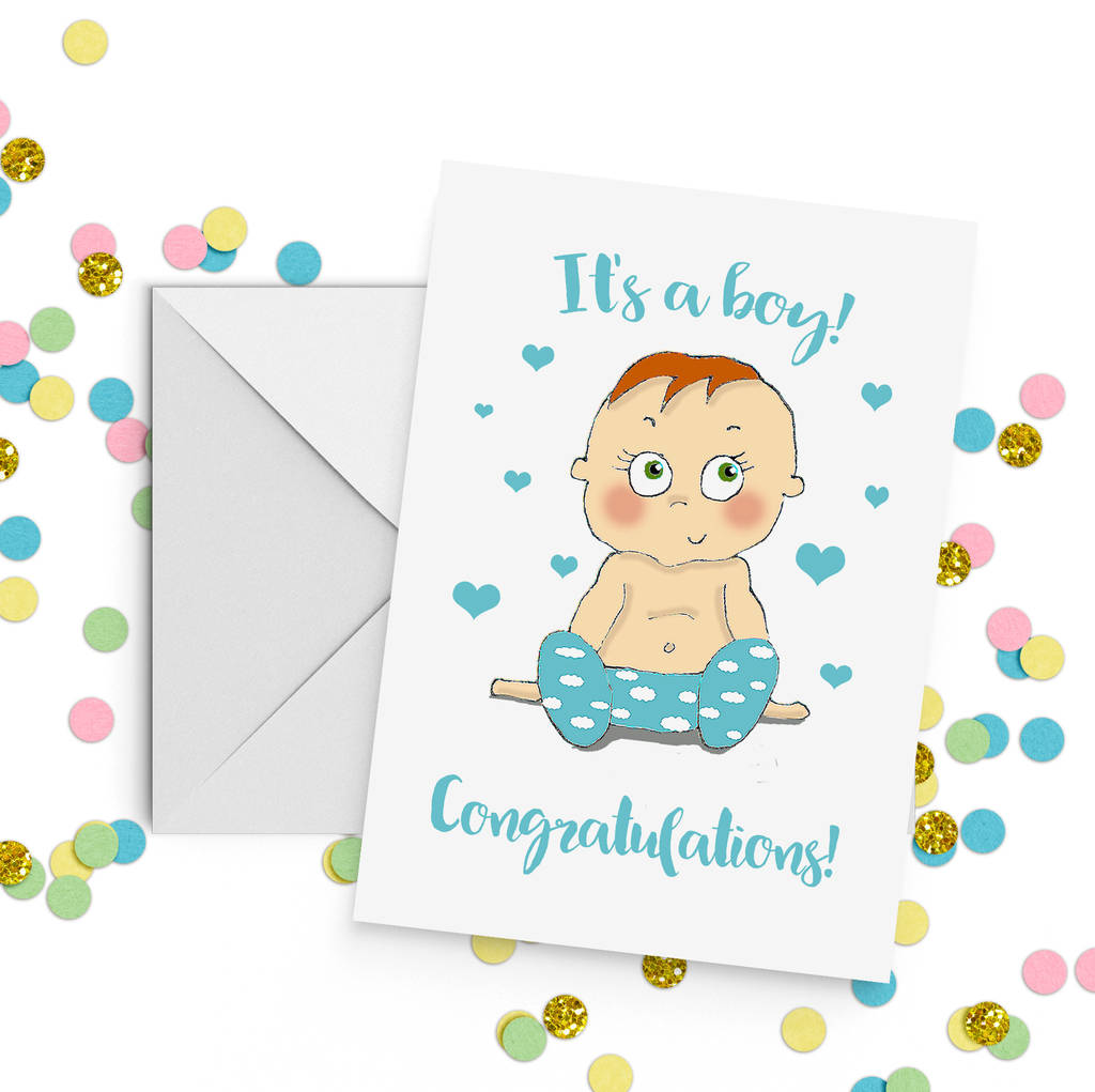 baby boy congratulations card a5 by giddy kipper