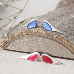 Silver Robin Stud Earrings