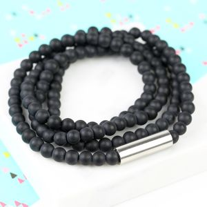 Men's Matt Black Glass Beaded Wrap Bracelet - bracelets