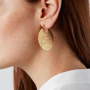 Hammered Gold Tribal Hoop Earrings - statement jewellery