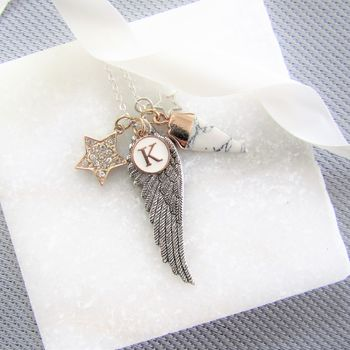 Angel Wing Personalised Silver Necklace