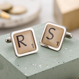 Personalised Letter Tile Cufflinks - men at play