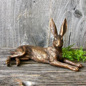 Resin Golden Hare Garden Sculpture - sculptures & ornaments