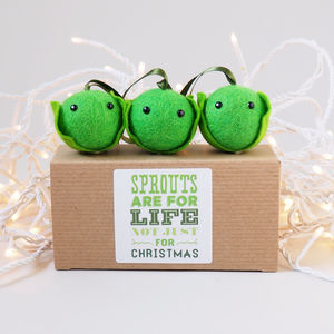 Christmas Sprout Tree Decoration Set Of Three - tree decorations