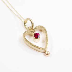 Yellow Gold And Ruby Heart Small Pendant - 40th anniversary: ruby