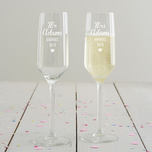 Personalised Anniversary Champagne Flute Set - gifts for couples