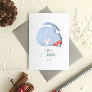 Personalised Baby's First Christmas Mouse Card