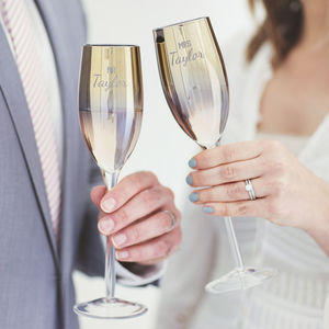 Personalised 'Mr And Mrs' Metallic Champagne Flute Set - champagne glasses