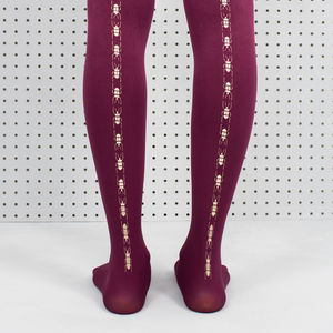 Plum Scarab Beetle Printed Tights - new in fashion