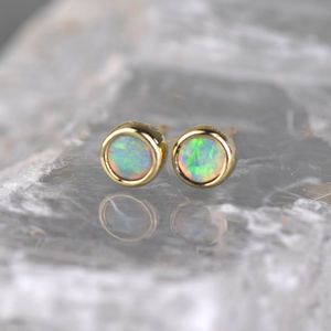 Simple Opal Gold Studs - gold earrings