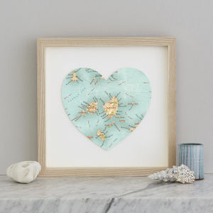Personalised Location Naxos And Paros Map Heart Print - maps