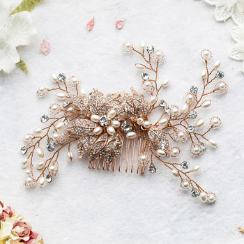 Amoret Flower Rose Gold Hair Comb