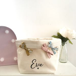 Personalised Bow Basket - storage baskets