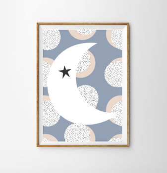Half Moon And Polka Children's Nursery Print