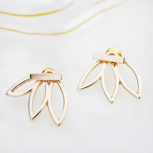 Half Flower Ear Jacket Pair - earrings