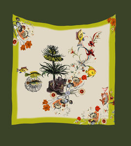 Alice Acreman Silks 'Arecaceae' Illustrated Silk Scarf
