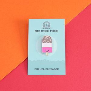 Retro Ice Cream Pin Badge Fab Lolly Ice