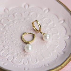 14ct Gold Hoop And Pearl Drop Earring