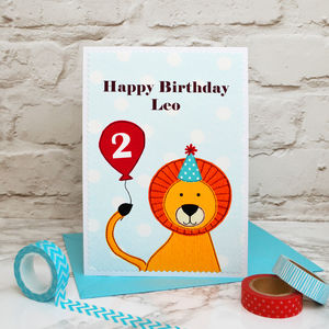 'Lion' Personalised Birthday Card For Children