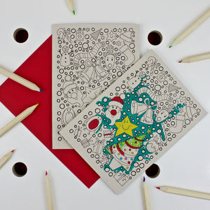 Colouring In Christmas Card - cards & wrap