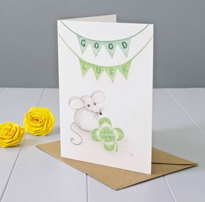 Good Luck Mouse Art Greeting Card