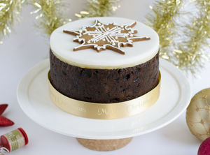 Luxury Christmas Cake With Hand Iced Biscuit - edible christmas