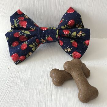 Navy And Red Strawberry Dog Bow Tie