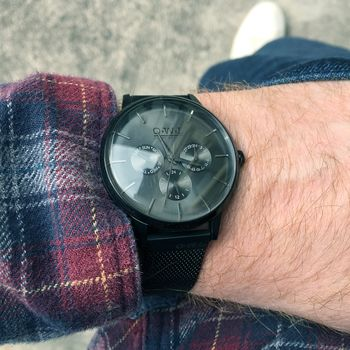 Gents Black Mesh Strap Pembrey Watch
