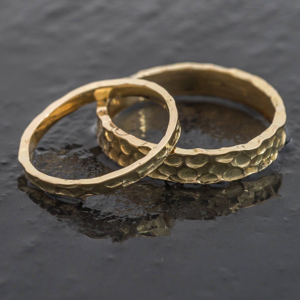 welsh and recycled gold hammered 25mm wedding ring by jacqueline