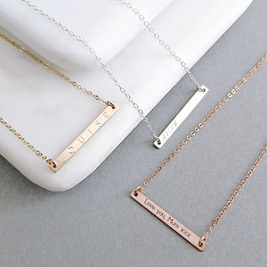 Skinny Reversible Personalised Bar Necklace - gifts for her sale
