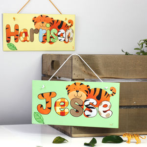 Personalised Jungle Tiger Canvas Sign - baby's room