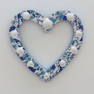 White Shells Wreath Heart Mosaic Wall Art
