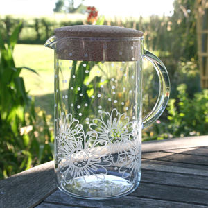 Floral Frosted Glass And Cork Jug - al fresco dining