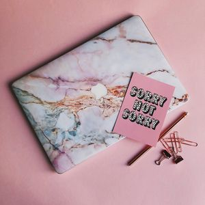 Pink Grey White Marble Macbook Vinyl Skin - laptop bags & cases
