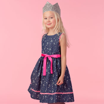 Navy Stars Cotton Girls Occasion Party Dress