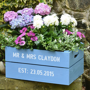 Personalised Wooden Crate Planter - gifts for couples