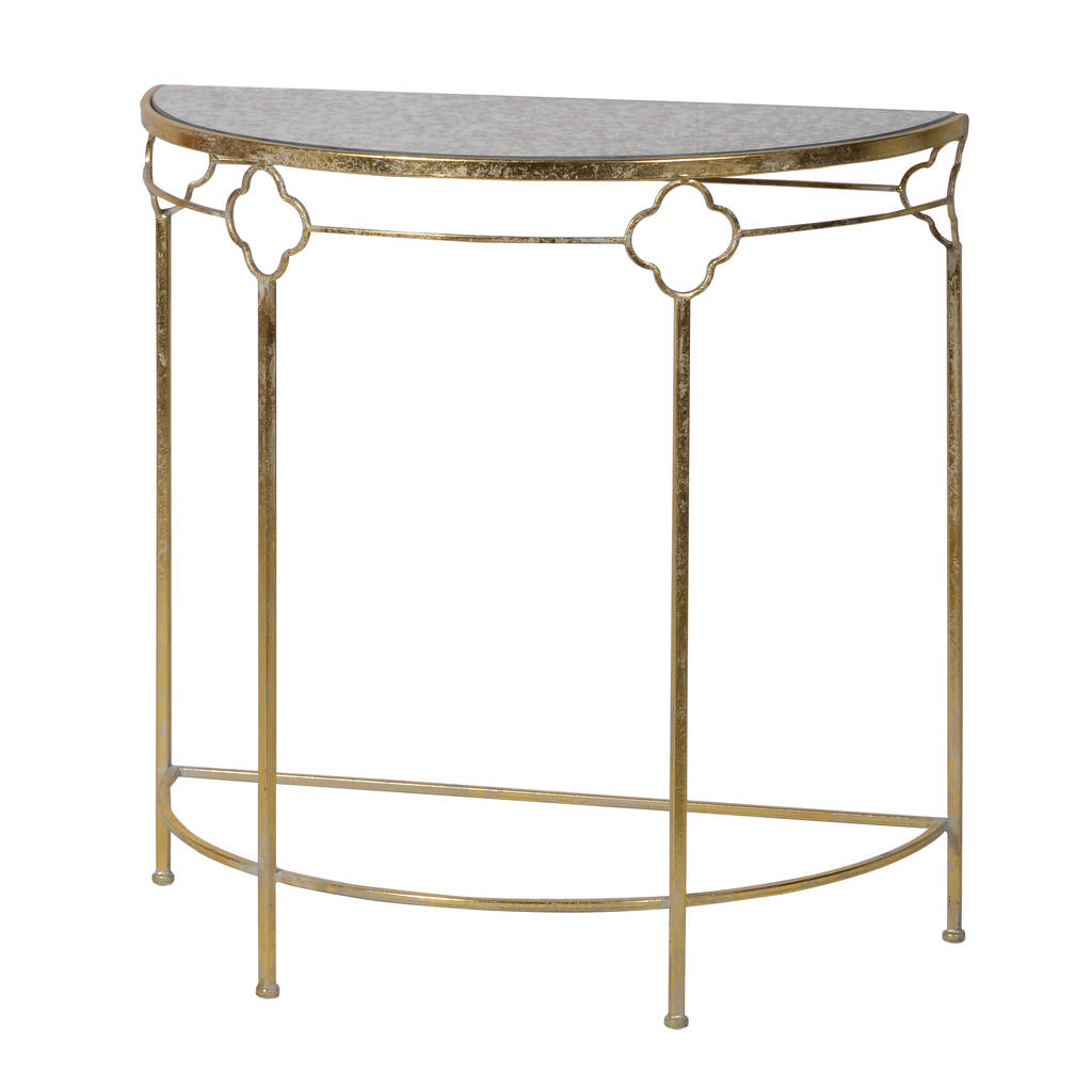Gold Console Table With Glass Top By Out There Interiors. Stone Age Tile. Bohemian Style Bedroom. Soapstone Counters. Classic Tile And Mosaic. Faux Fireplace Ideas. Bar Foot Rail. Tambour Door. Coat Closet Ideas