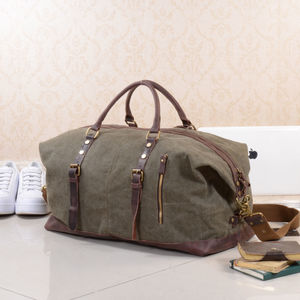 Canvas Classic Travel Holdall Bag Personalised - frequent traveller