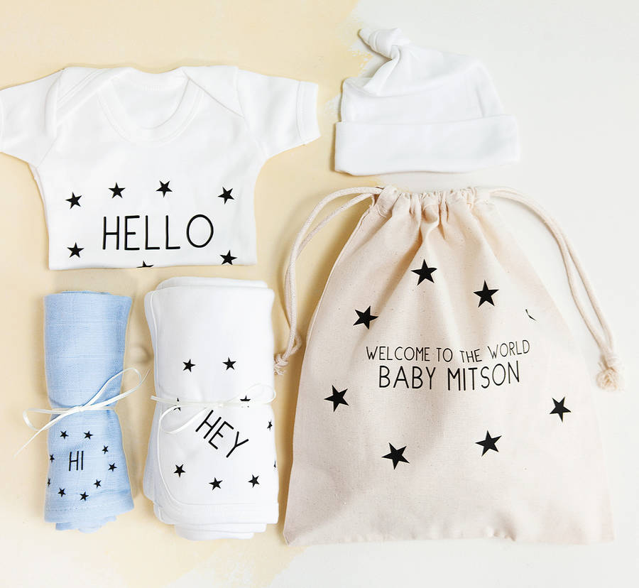 Personalised New Baby Boy Hospital Gift Set