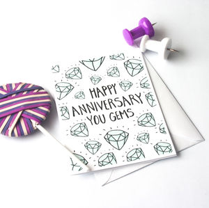 Happy Anniversary Illustrated Gems Card - anniversary cards