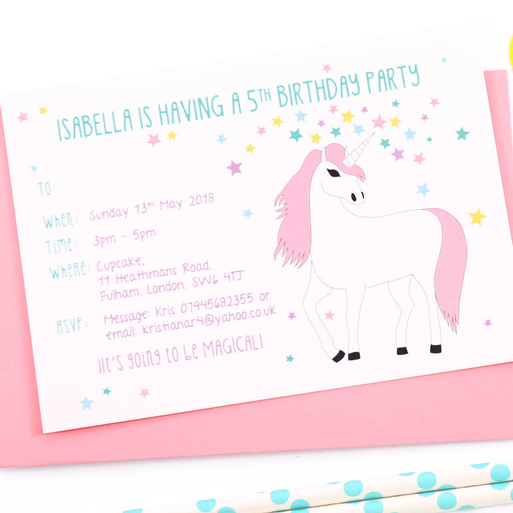 unicorn personalised birthday party invitations by superfumi
